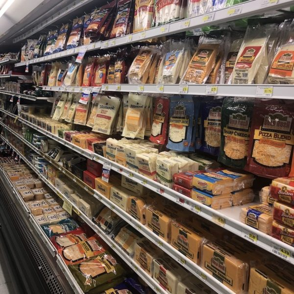 Dairy cases at Comptons