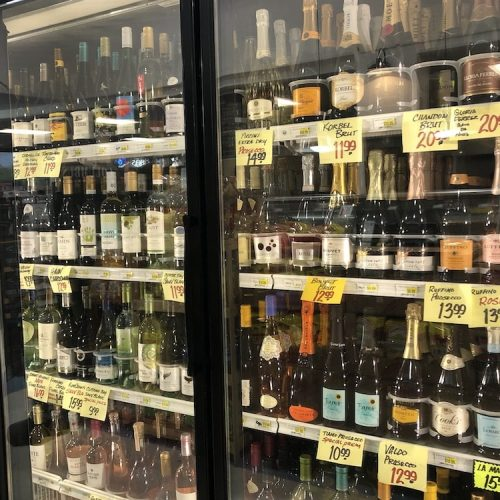 Chilled wine case at Comptons