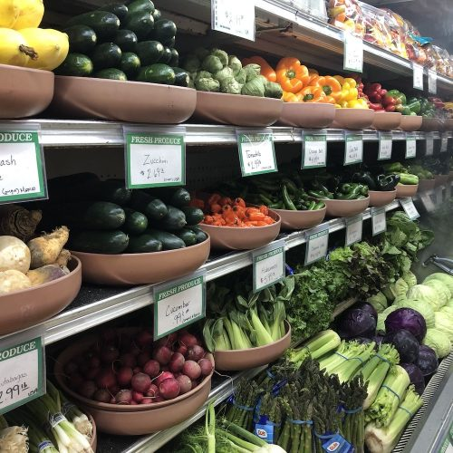 Produce department at Comptons